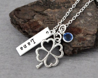 mother Necklace Personalized birthstone necklace mommy necklace, shamrock, lucky charm, hand stamped jewelry, mothers day, gift for mom
