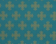 Turquoise and Gold Fabric for Furniture Upholstery - Medallion Fabric - Turquoise Pillows with Crest Symbol - Gold Scroll Fabric Headboard