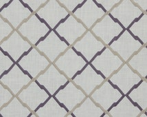 Taupe Geometric Linen Upholstery Fabric - Embroidered Purple Curtain Roman Shade Material - Geometric Ivory Pillow Euro Sham Bedding Fabric