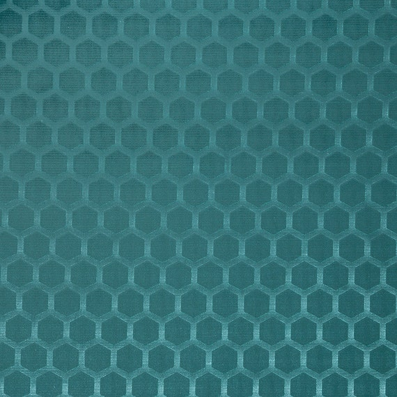 Dark Teal Geometric Velvet Upholstery Fabric For Furniture - Designer upholstery fabric teal
