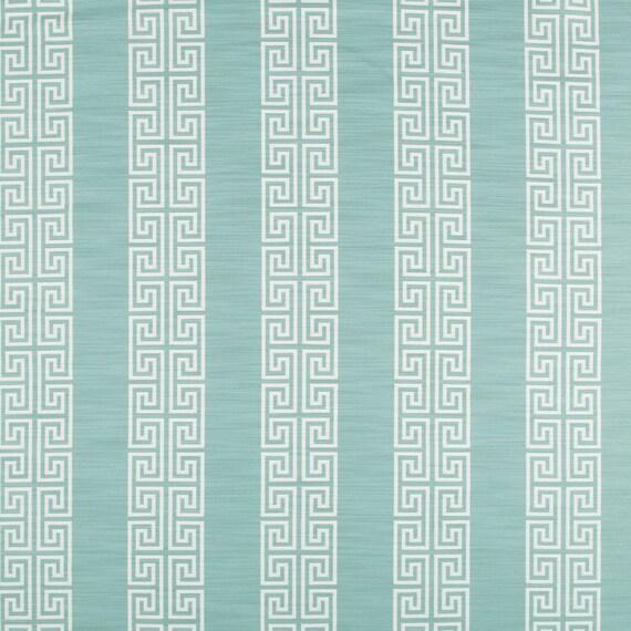 Aqua Greek Key Upholstery Fabric Dining Room Chair