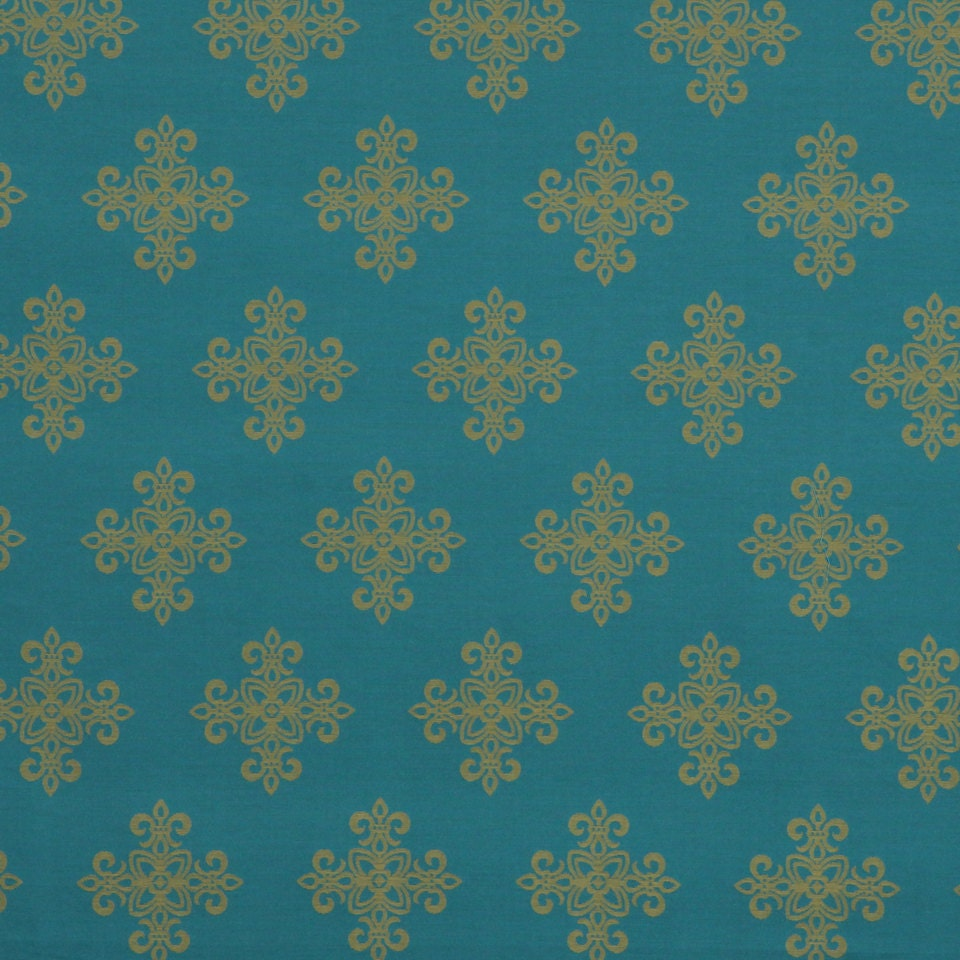 Turquoise And Gold Fabric For Furniture Upholstery Medallion - Designer upholstery fabric teal