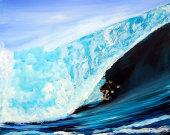 Giant Wave and Surfer Painting Peinture Mer Dipinti