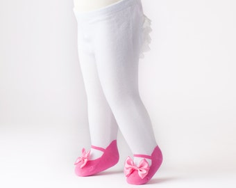 Ruffle Bum Baby tights with Mary Jane Bow Shoes leggings - Bubble Gum Pink