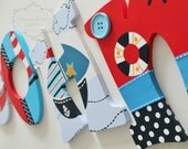 Lambs and Ivy Sail Away Blue, Red, and White Nautical Theme Hand Painted Personalized Wooden Letters for Nursery
