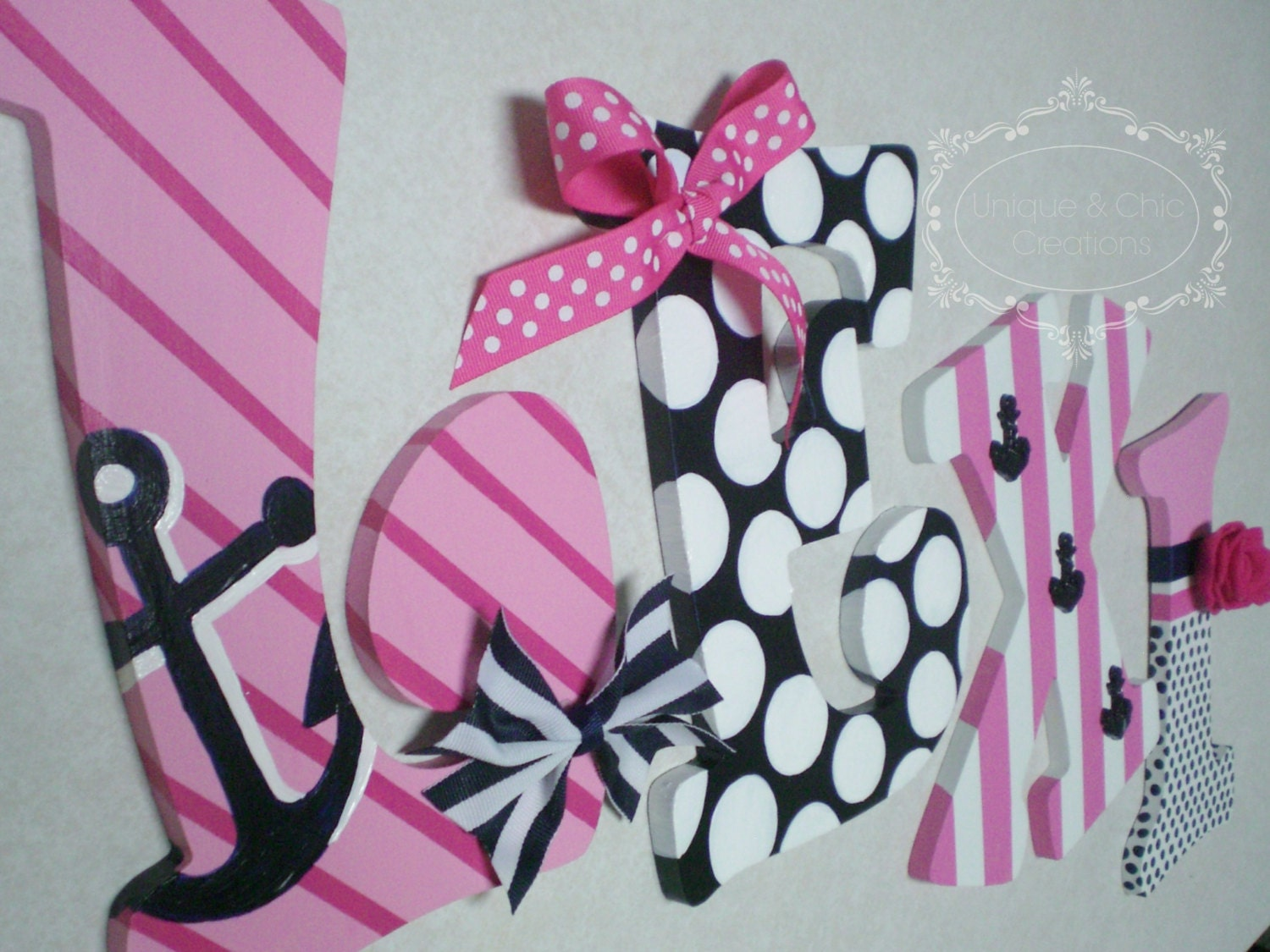 Hand Painted Personalized Wooden Letters Pink Navy And White