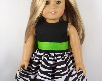 "18 Inch Doll Clothes - Black, White, and Lime Zebra Print Doll Clothes - Made to Fit 18"" Dolls Like American Girl Doll Clothes"