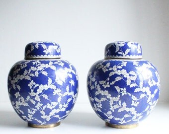 Chinoiserie Large Blue and White Cloisonne Ginger Jars