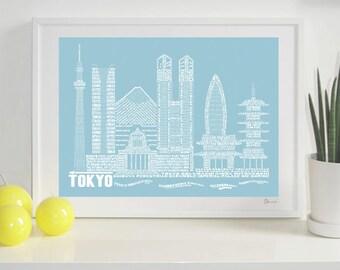 Tokyo Skyline Typography Print