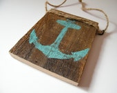 Pallet wood teal anchor, nautical ornament