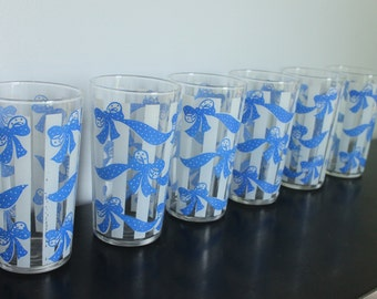 Set of 6 Vintage Blue and White Stripe Small Juice glasses, blue ribbons and Bows, white stripes, blue and white kitchen