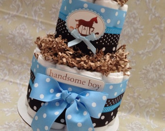 Blue and Brown 2 tier Diaper Cake, Baby Shower Centerpiece or New Baby Gift, Baby Boy Baby Shower, Baby Boy Diaper Cake, Vintage Toys