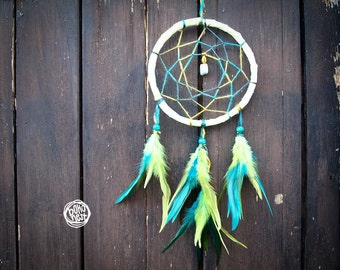 Dream Catcher - In The Grass - With Small Gemstone, Green and Blue Feathers and Light Green Frame - Home Decor, Nursery Mobile