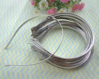 35 Pcs plated siver metal Headbands Bent Ends 7mm
