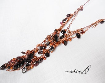Garnet Necklace, Rustic Gemstone Necklace, Boho Lariat Necklace, with Copper Wires and Vintage Chain