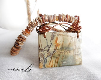 Necklace, Men's Necklace, Jasper Pendant Necklace, Succor Creek Jasper Pendant, Healing Necklace, Men's Jewelry