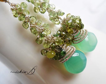 Earrings, Wrapped Green Chalcedony Dangle Earrings, with Green Tourmaline Cluster and Sterling Silver 925