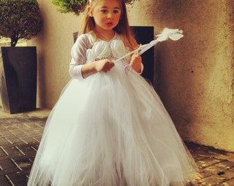 TUTU Flower girl dress White Ivory chiffton flowers tutu dress baby dress toddler birthday dress wedding dress 1-8T