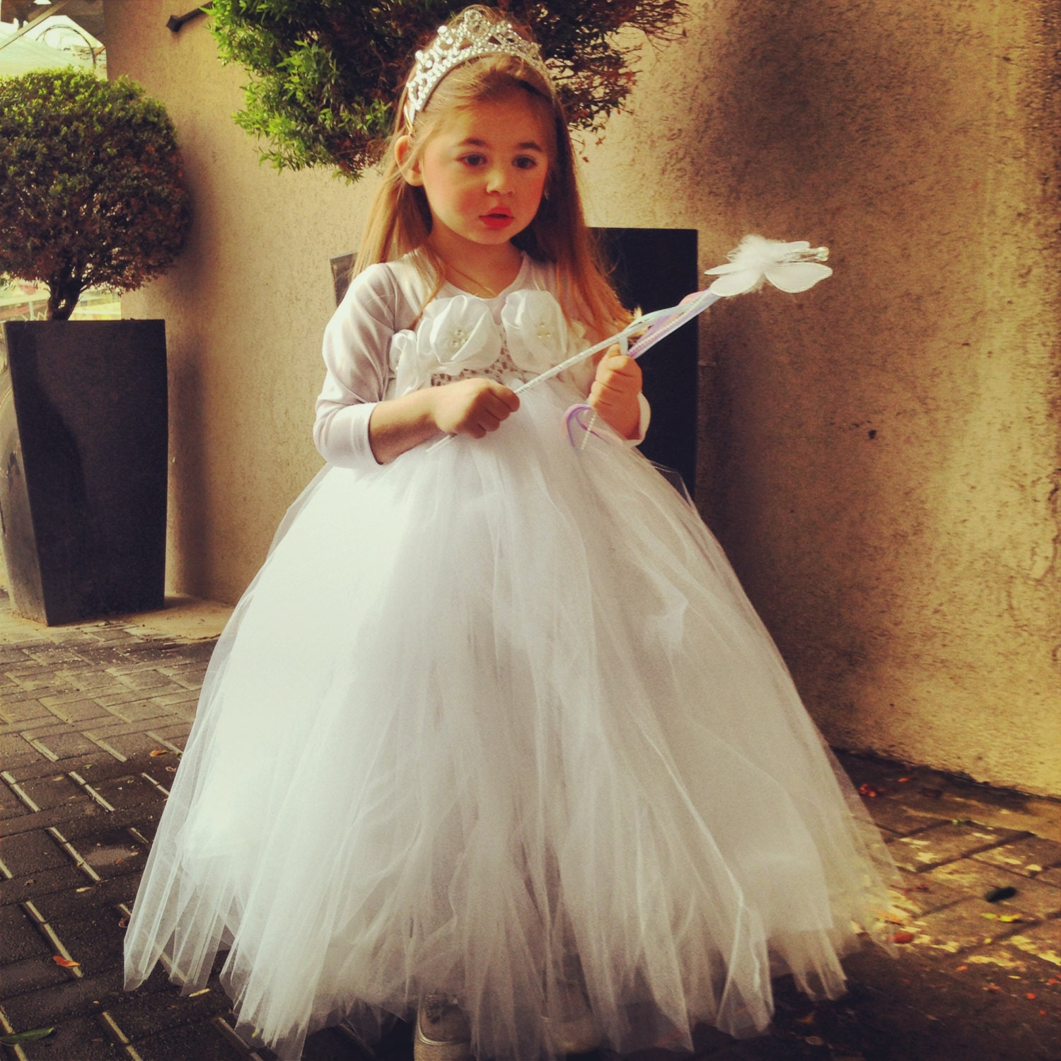 TUTU Flower girl dress White Ivory chiffton flowers tutu dress