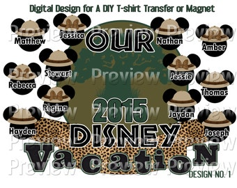 Printable Safari Mouse Heads Iron On Transfer Tree of Life Shirt Matching Family Disney Shirts Animal Kingdom Family Shirts DIY Disney Shirt