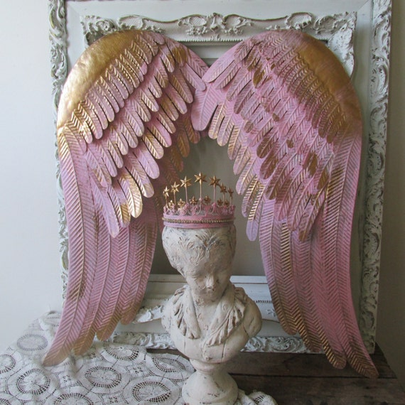 Pink Angel Wings Wall Decor : Painted angel wings wall decor pink and gold by
