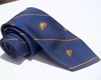 "Vintage 1980s Navy Rollins College Tie with ""Fiat Lux"" Sunrise Club Pattern"