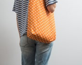 Canvas Tote Bag Geometric Print Bag Tote Bag Bright Orange Tote Polka Dot Tote Bag Hipster Funny Tote Kawaii Shoulder Bag Christmas Gifts