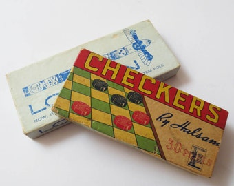 2 Vintage Wood Games: '40s Halsam Checkers and an Are-Jay Lo-Man Game