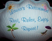 Personalized HIS or HERS Retirement Keepsake Pillow with Autograph back