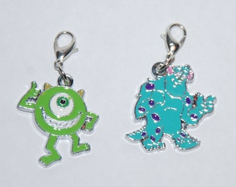 Cute Monsters Inc. Sulley and Mikey Enamel Clip Charm, zipper pull, backpack, cell phone, purse clip, bracelet, necklace or scrapbooking.