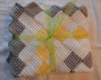 Hand-Crocheted Baby Afghan - Yellow, Grey and White - 100% Cotton Yarn - Cuddly and Soft -