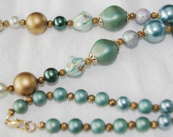 Handmade Necklace: Vintage Glass & Plastic Beads Aqua and Gold