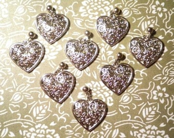 8 Silverplated 20mm Fancy Hearts with Ball Charm