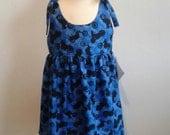 OOAK Girl's dress. Size 4 Blue and Black motorcycle tie dress