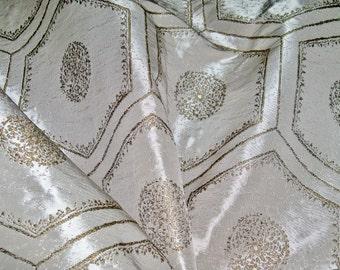 RUBELLI VENEZIA Cem SULTAN Jacquard Damask Fabric 2 Yard Remnant Antique Gold Platinum Silver