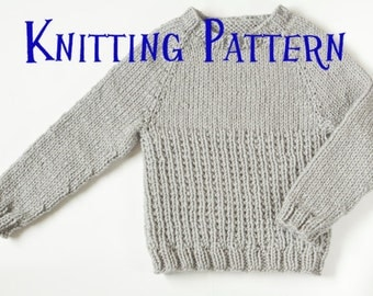 PDF Knitting Pattern - Little Graphite Pullover, Ages 1-10 years, Child Sweater, Infant Toddler Knitting Pattern, Kids Knit Jumper Pattern