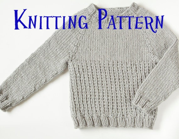 PDF Knitting Pattern - Little Graphite Pullover, Ages 1-10 years, Child Sweat...