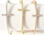 Cross Bracelet. Sideways Cross Bracelet. Side Cross Bracelet. Beaded Cross Bracelet. Cross Jewelry. Bead Cross Bracelet.
