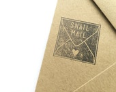 "snail mail rubber stamp - 1 x 1"" inch stamp for letters and packaging"