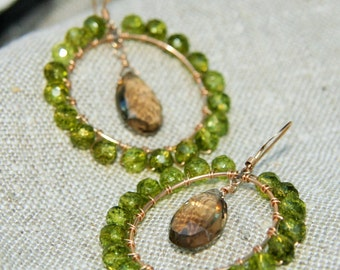 Gorgeous smoky quartz and green quartz earrings on 14kt gold filled ear wires