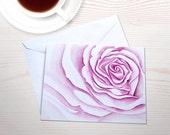 Floral notecards, watercolor rose, personal stationery set, art reprint, macro rose, gardening notecards, watercolor stationery, pink rose