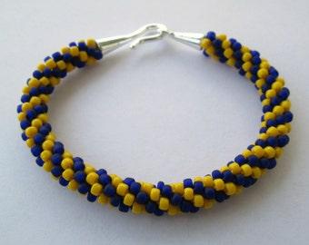 University of Toledo Bracelet, University of Toledo, Toledo Rockets, Toledo Ohio, Rockets Football, Beaded Bracelet, Kumihimo Bracelet