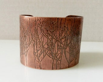 Dark Copper Cuff with Etched Winter Trees, Bare Trees Pattern Cuff Bracelet, Handmade Metalwork Jewelry, Wide Contemporary Boho Cuff