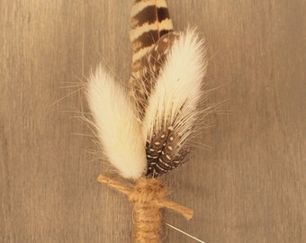 Fluffy  Hares Tail and Guinea feather Rustic Wedding Grooms Boutonniere