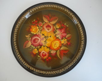 Vintage Russian Toleware Fall Colors Floral Tray Round Russian Tole Ware Floral Tray Collectible Tray Orange Yellow Brown Floral Tray
