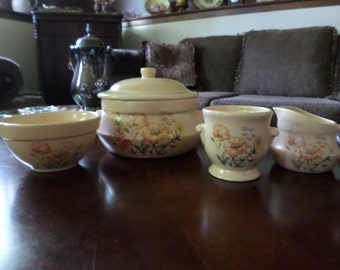 Vintage Treasure Craft-Yellow/Orange Poppy Covered Casserole/Creamer/Sugar/Mixing Bowl Lot