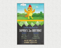 CUSTOM Chica Birthday Party Invite, 5x7 PDF File, Printable, Chalkboard Style, Personalized