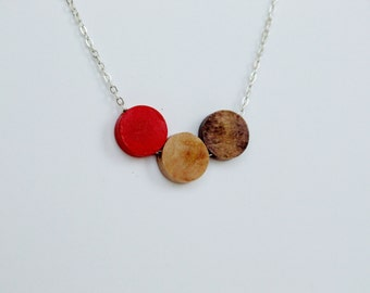 Walnut and Birch Wood Geometric Silver Necklace red