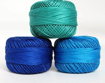 Perle Cotton Thread Set - Size 8 Finca Pearl Cotton by Presencia - Royal Blue - Blue - Seagreen - Moon Glow 1