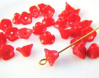 Opaque Cherry Red Small Bell Flower Beads 7x5mm Czech Glass Preciosa Flower Cup Beads - 25